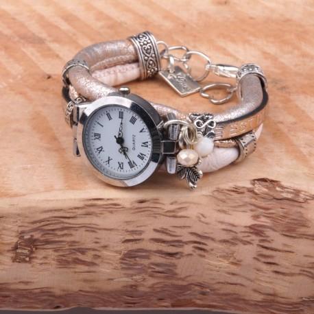 HippS H175- Horloge vrouw roze/champagne